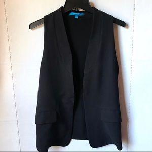 Derek Lam Women's Black Open Front Tuxedo Vest